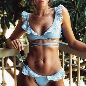 Cute Modes Ruffle Blue Two Piece Bikini Swimsuit for Teen Girls - www.GlamantiBeauty.com