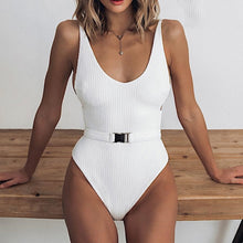 Cute Slimming Belted Swimsuit Bathing Suit One Piece Monokini in White - www.GlamantiBeauty.com