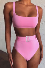 Pink Slimming High Waisted Bikini Jewelled Belted Two Piece Swimwear for Teen Girls for Women - lindo bikini - www.GlamantiBeauty.com