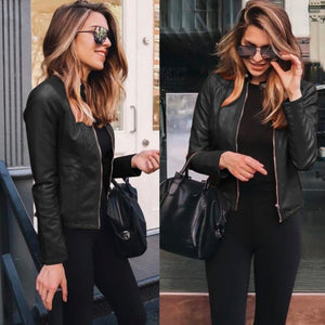 Edgy Trendy Leather Cropped Moto Jacked Fashion for Women - www.GlamantiBeauty.com #outfits