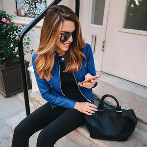 Blue Edgy Trendy Leather Cropped Moto Jacked Fashion for Women - www.GlamantiBeauty.com #outfits