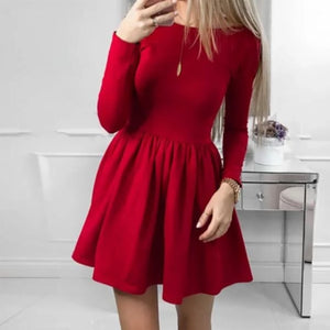 Rosa Cute Long Sleeve A Line Skater Mini Dress