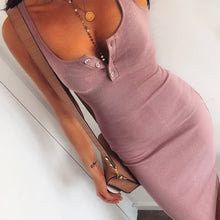 Cute Pink Summer Outfit Ideas for Teens Button Up Ribbed Tank Midi Dress - www.GlamantiBeauty.com