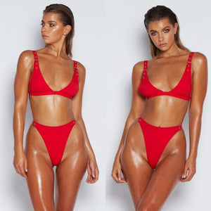 Aria Cute Rivet Buckles Cheeky High Waisted Thong Bottom Two Piece Bikini