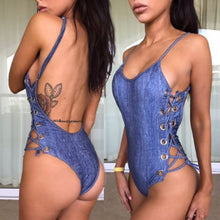 Hot Blue Denim Swimsuits for Teens - Jean Lace Up Corset Side Scoop Back Monokini One Piece Bathing Suit - Trajes de baño de una pieza atractivos del denim atractivo para las mujeres - www.GlamantiBeauty.com #swimwear