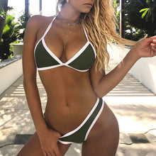 Sporty White Ribbing Tow Piece Swimsuit Triangle Bikini for Women for Teens - Beach Vacation Outfit Ideas - www.GlamantiBeauty.com #swimwear