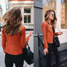 Orange Edgy Trendy Leather Cropped Moto Jacked Fashion for Women - www.GlamantiBeauty.com #outfits