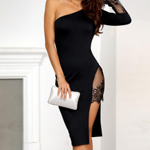 Evening Night Out Outfit Ideas for Women - Lace One Sleeve Off the Shoulder Black Dress - www.GlamantiBeauty.com