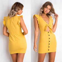 Cute Summer Date Outfit Ideas for Teens - Casual Tie up Keyhole Mini Dress for Women with Ruffles in White, Yellow, Green, Pink - lindo verano vestidos ideas de vestimenta para mujeres - www.GlamantiBeauty.com #dresses