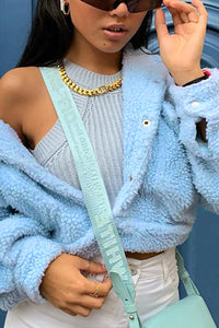Cute Comfy Casual Fall Outfit Ideas for Women - Popular Blue Sherpa Teddy Jacket Coat - www.GlamantiBeauty.com #outfits