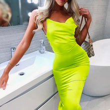 Fancy Classy Neon Yellow Satin Midi Dress - Evening Party Going Out Outfit Ideas for Women - www.GlamantiBeauty.com