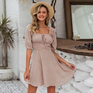 Cute Spring Summer Outfit Ideas Patterned Skater Mini Dress - www.GlamantiBeauty.com #dresses