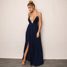 Elegant Formal Long Prom Dresses Outfit Ideas for Teens - Simple Modest Backless Dark Blue Strappy Chiffon Maxi Dress Cheap 2018 for Homecoming for Graduation - elegantes vestidos de fiesta largos formales Ideas de vestimenta para adolescentes - www.GlamantiBeauty.com