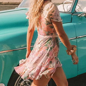 Cute Summer Spring Outfit Ideas for Teen Girls for Women - Floral Flower Ruffle Chiffon Mini Dress -  lindas ideas de trajes de verano para mujeres - www.GlamantiBeauty.com