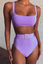 Purple Slimming High Waisted Bikini Jewelled Belted Two Piece Swimwear for Teen Girls for Women - lindo bikini - www.GlamantiBeauty.com