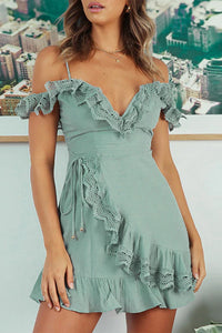 Cute Dressy Date Night Summer Spring Outfit Ideas for Teen Girls for Women - Classy Off the Shoulder Ruffle Mini Short Dress - lindas ideas de trajes de verano para mujeres - www.GlamantiBeauty.com