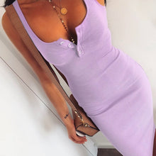Cute Purple Summer Outfit Ideas for Teens Button Up Ribbed Tank Midi Dress - www.GlamantiBeauty.com