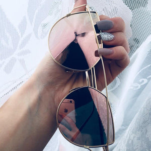 Cheap Designer Cateye Mirrored Lenses Oversized Sunglasses Reflective Mirror - 2018 Classic Summer Trend Trending www.GlamantiBeauty.com - Pink & Gold