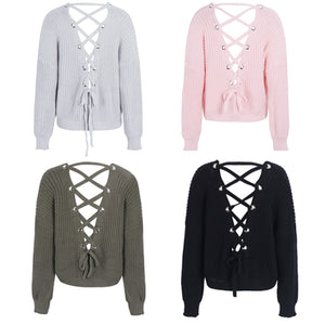 Cute Outfit Ideas for School Betsy Criss Cross Back Lace Up Oversized Sweater - www.GlamantiBeauty.com