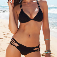 Cute Modest Strappy Triangle Swimsuit Bikini Swimwear in Blue, Pink, Black - www.GlamantiBeauty.com