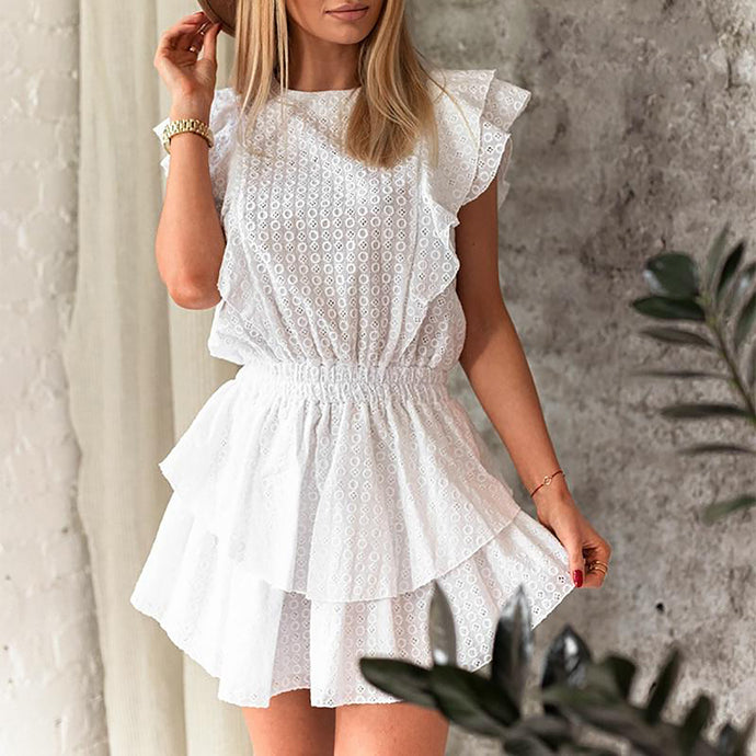 Cute Casual Summer Outfit Ideas for Women for Teen Girls Smock Ruffle White Mini Dress - www.GlamantiBeauty.com