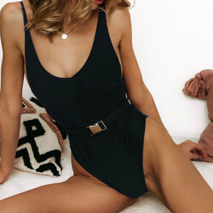 Cute Slimming Belted Swimsuit Bathing Suit One Piece Monokini in Black - www.GlamantiBeauty.com