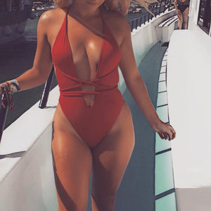 Cute Red Slimming Halter Neck Monokini Swimsuit Bathing Suit for Teen Girls for Women - www.GlamantiBeauty.com