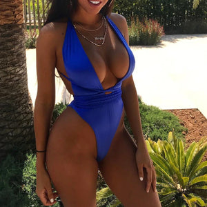 Cute Royal Blue Slimming Halter Neck Monokini Swimsuit Bathing Suit for Teen Girls for Women - www.GlamantiBeauty.com