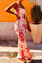 Fancy Classy Red Tye Dye Satin Midi Dress - Evening Party Going Out Outfit Ideas for Women - www.GlamantiBeauty.com