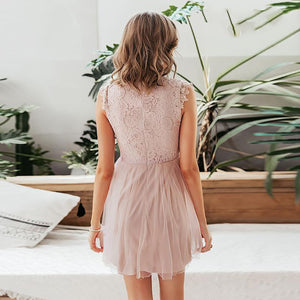 Classy Evening Pink Lace Mini Dress Summer Outfit Ideas for Women for Teen Girls - www.GlamantiBeauty.com #dresses