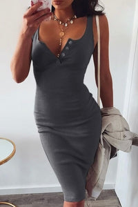 Cute Grey Summer Outfit Ideas for Teens Button Up Ribbed Tank Midi Dress - www.GlamantiBeauty.com