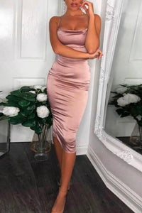 Fancy Classy Pink Mauve Satin Midi Dress - Evening Party Going Out Outfit Ideas for Women - www.GlamantiBeauty.com