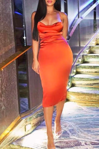 Fancy Classy Orange Red Satin Midi Dress - Evening Party Going Out Outfit Ideas for Women - www.GlamantiBeauty.com