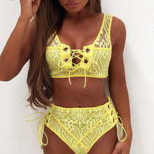 Cute Lace High Waisted Slimming Bikini for Teens - Trendy Popular Flattering Slimming Tie Up Corset Two Piece Bikinis Midikini for Women in White / Black / Red / Yellow - bikini de encaje lindo para mujer www.GlamantiBeauty.com #swimwear