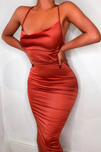 Fancy Classy Red Orange Satin Midi Dress - Evening Party Going Out Outfit Ideas for Women - www.GlamantiBeauty.com