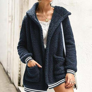 Cute Casual Winter Outfit Ideas for Women - Cozy Soft Sherpa Dark Blue Sweater Jacket - www.GlamantiBeauty.com