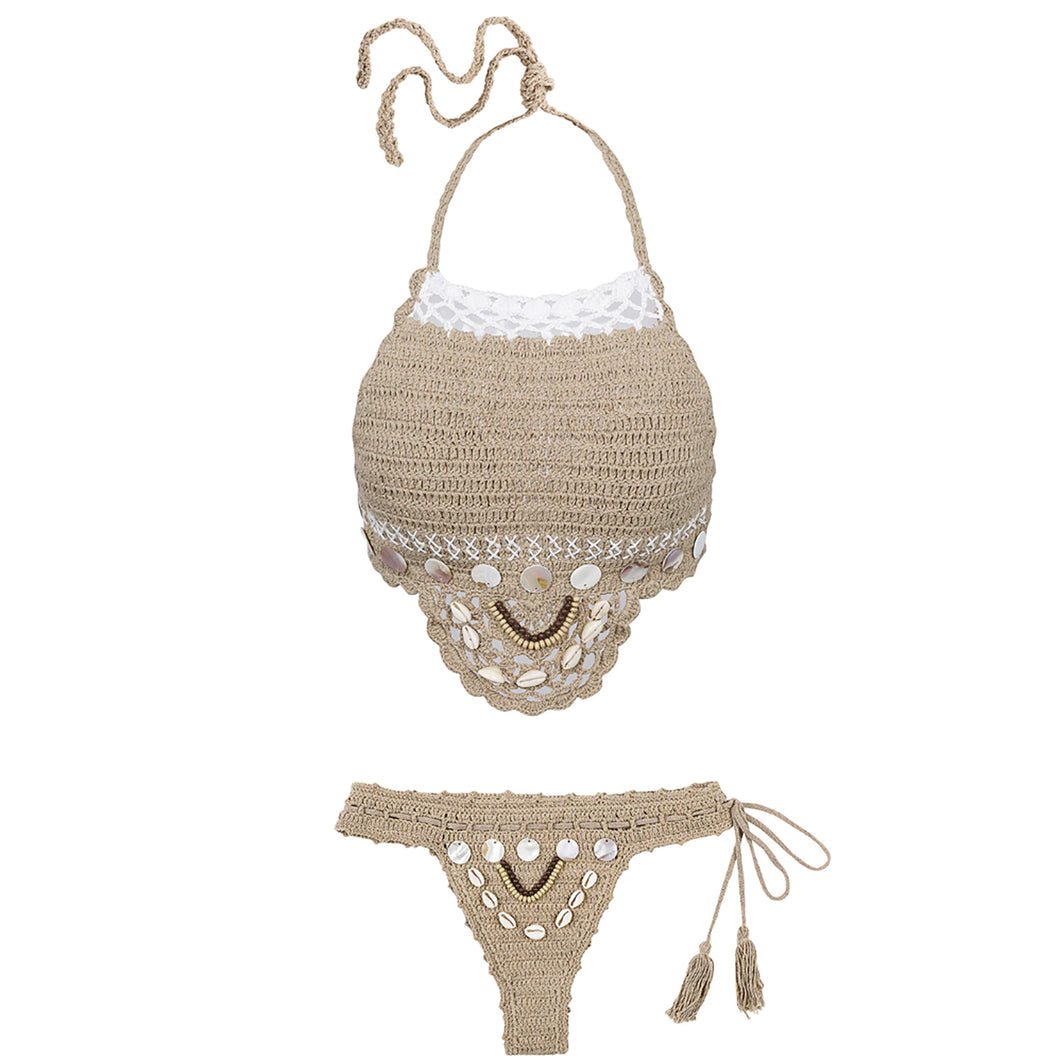 Ivy Bohemian Crotchet Seashell Halter Neck Bikini Swimsuit