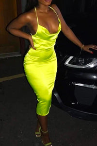 Fancy Classy Yellow Satin Midi Dress - Evening Party Going Out Outfit Ideas for Women - www.GlamantiBeauty.com