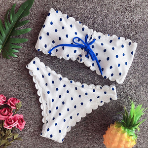 Cute Modest Polkadot Ruffle Bandeau Two Piece Bikini Swimwear for Teens 2019 - www.GlamantiBeauty.com