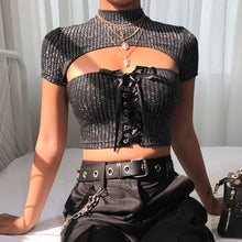Classy Summer Fall Outfit Ideas for Date Night or Going Out - Glitter Grey Corset High Neck Crop Top - www.GlamantiBeauty.com