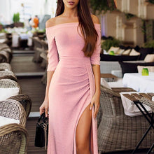Classy Evening Party Outfit Ideas for Women Off the Shoulder Sparkly Slit Midi Dress - ideas de atuendo con clase para las mujeres - www.GlamantiBeauty.com