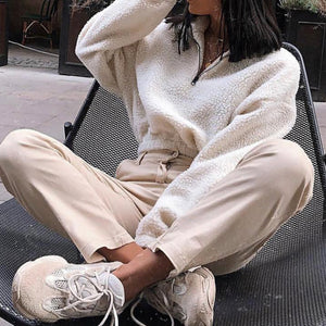 Cute Fall Comfy Outfit Ideas for Teen Girls Back to School Fashion 2019 - Quarter Zip Crop Sweater Sherpa Turtle Neck -  www.GlamantiBeauty.com