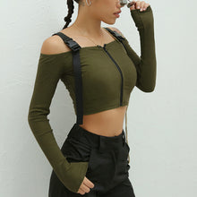 Baddie Summer Fall Outfit Ideas for Women for Teen Girls Off the Shoulder Buckle Army Crop Top - www.GlamantiBeauty.com