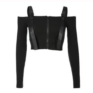 Kim Possible Buckle Strap Off the Shoulder Long Sleeve Crop Top Ribbed Sweater in Black - www.GlamantiBeauty.com
