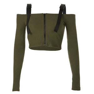 Kim Possible Buckle Strap Off the Shoulder Long Sleeve Crop Top Ribbed Sweater in Army - www.GlamantiBeauty.com