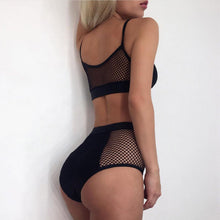 Sexy High Waisted Black Bikini Slimming Fish Net Mesh Two Piece Swimsuit Bathing Suit - www.GlamantiBeauty.com #swimwear