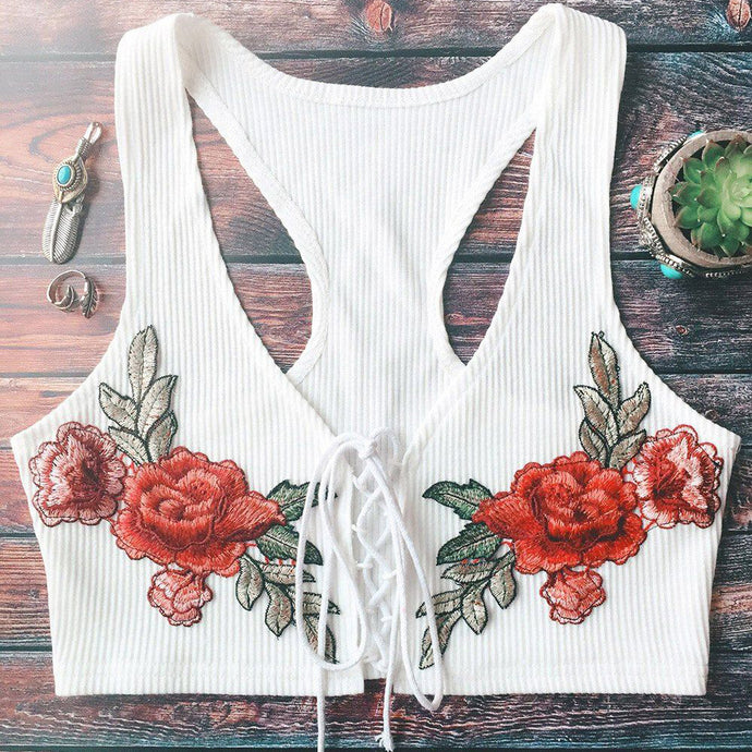 Belle Rose Embroidered Lace Up Knitted Crop Top Shirt Bralette Summer Clothing - www.GlamantiBeauty.com - White