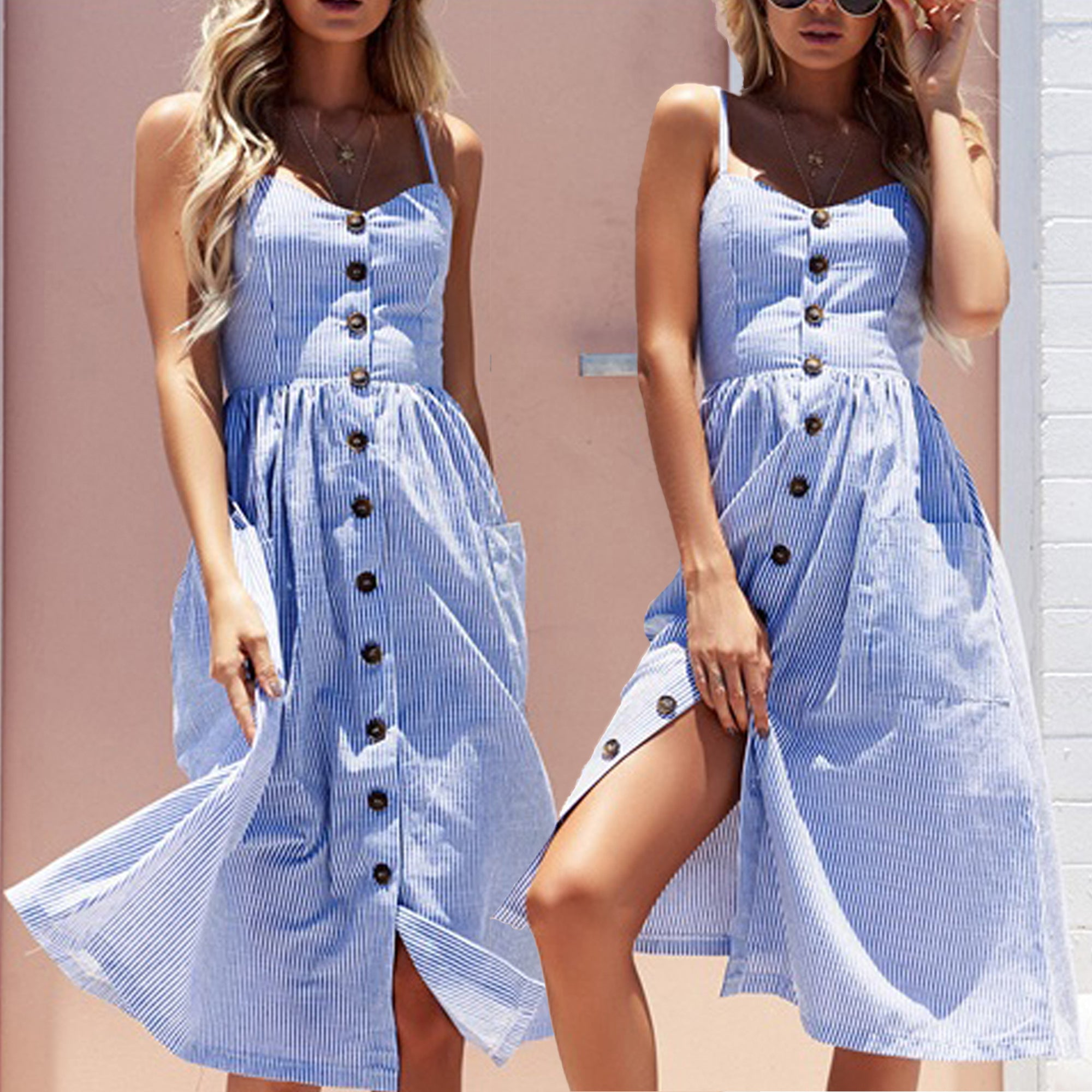 Summer Wedding Outfit Ideas: Vanessa Button Up Spaghetti Strap Blue & White Striped