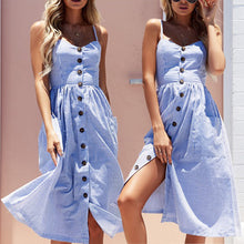Cute Casual Summer Dresses Outfit Ideas for Women - Blue and White Striped Midi Dress with Button Up Front - vestidos de verano casuales ideas de atuendos para mujeres - www.GlamantiBeauty.com #dresses