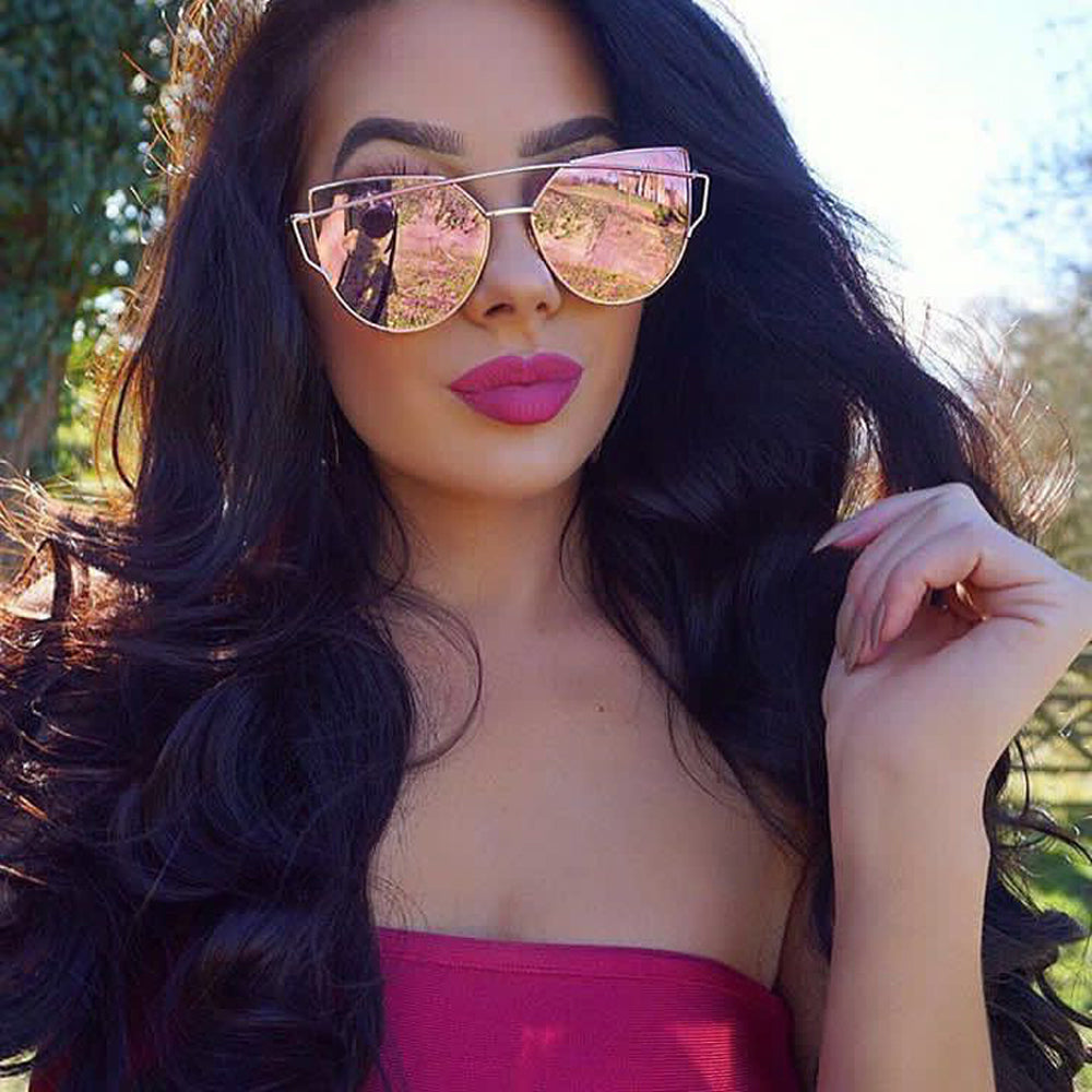 461196e9de ... Pretty Prom Bold Dramatic Makeup Ideas for Brown Eyes - Cheap Designer  Cateye Mirrored Lenses Oversized ...